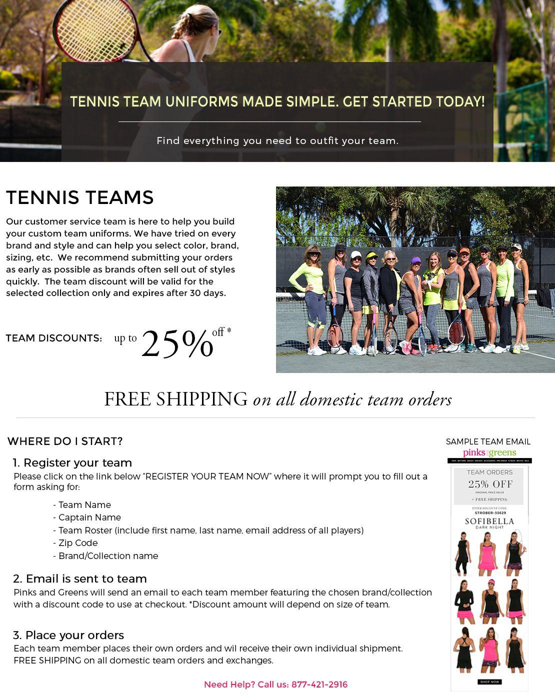 Tennis Team Discounts